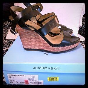 Antonio Melani Black Wedges size 8.5